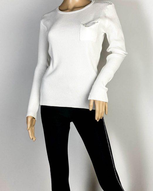 pulover alb damă tricot cu pietre și perle,