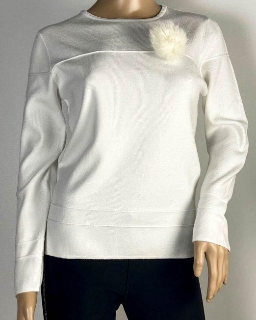 pulover alb damă cu ciucure,