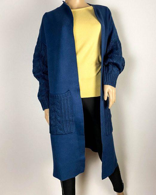 cardigan albastru damă tricot cu buzunare,