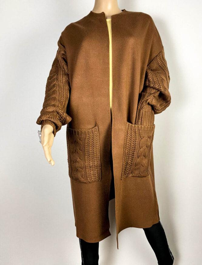 cardigan maro damă tricot cu buzunare,