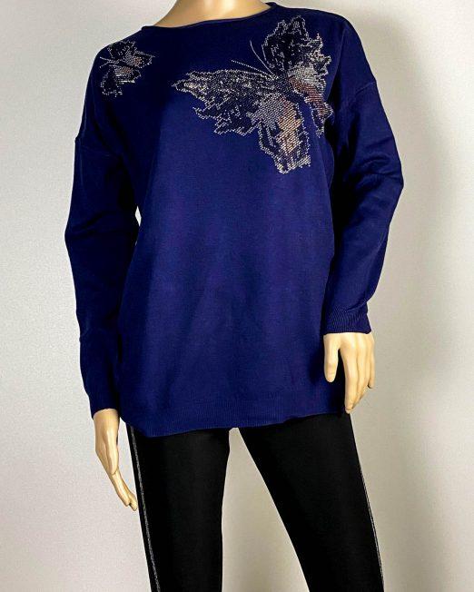 pulover bleumarin damă cu fluture,
