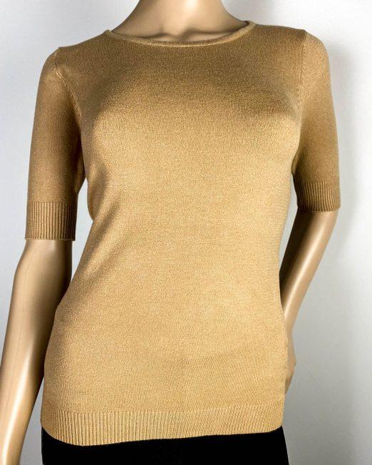 pulover beige damă cu mânecă scurtă,