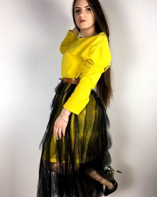 rochie galbenă damă din bumbac și voal,