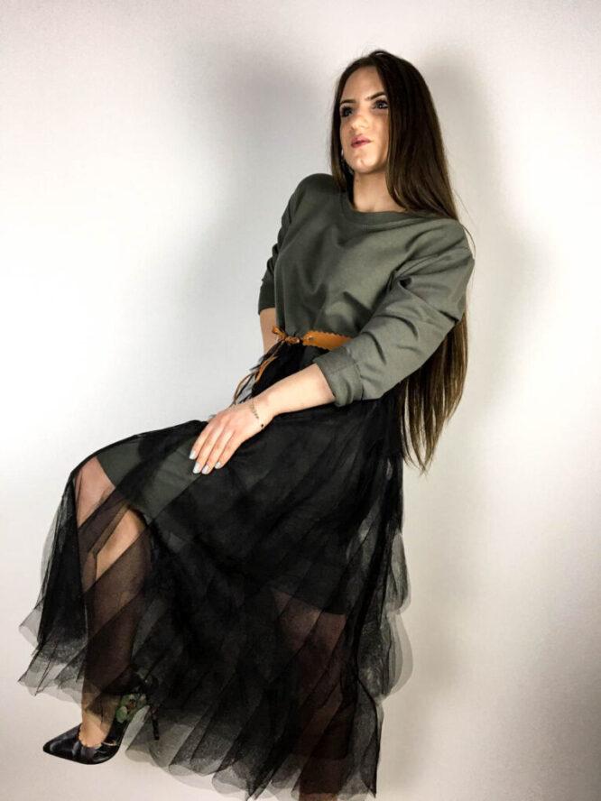 rochie kaki damă din bumbac și voal,