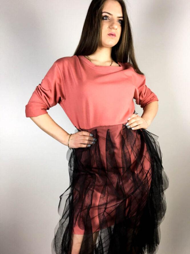 rochie roz damă din bumbac și voal,