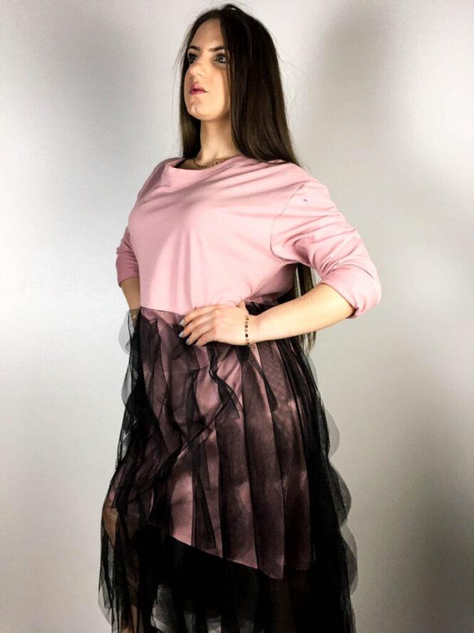 rochie roz prăfuit damă din bumbac și voal,