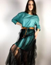 rochie turquoise damă din bumbac și voal,