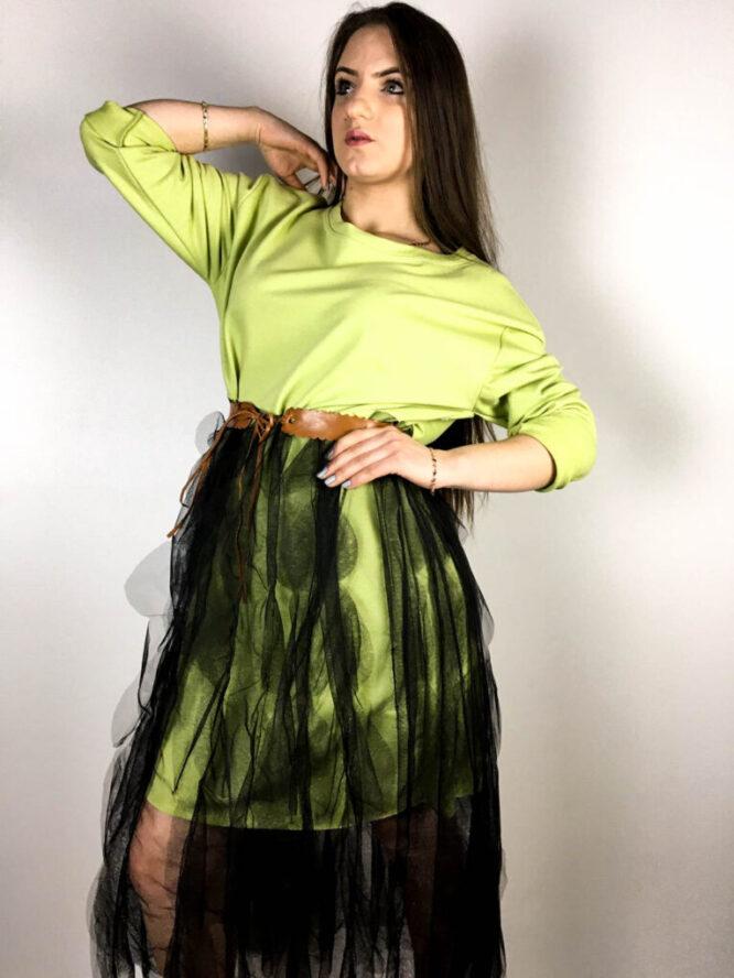rochie verde damă din bumbac și voal,