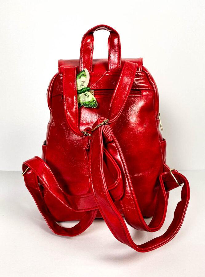 rucsac roșu damă din piele ecologică,