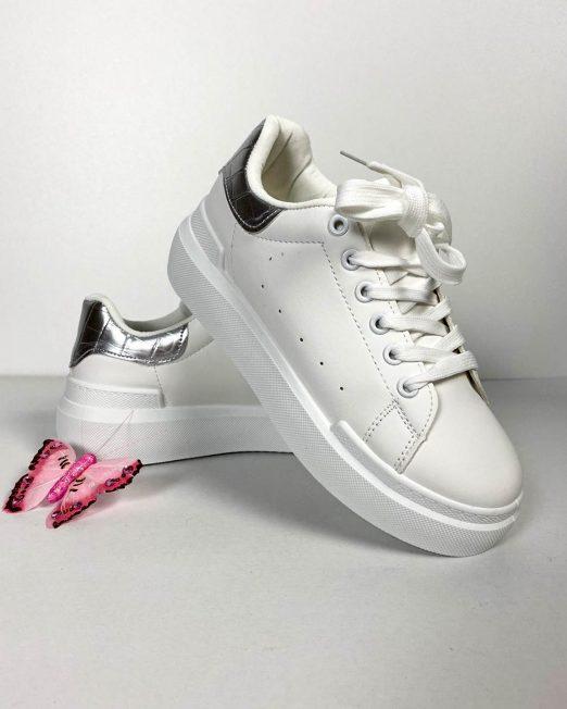 pantof sport alb cu argintiu damă,