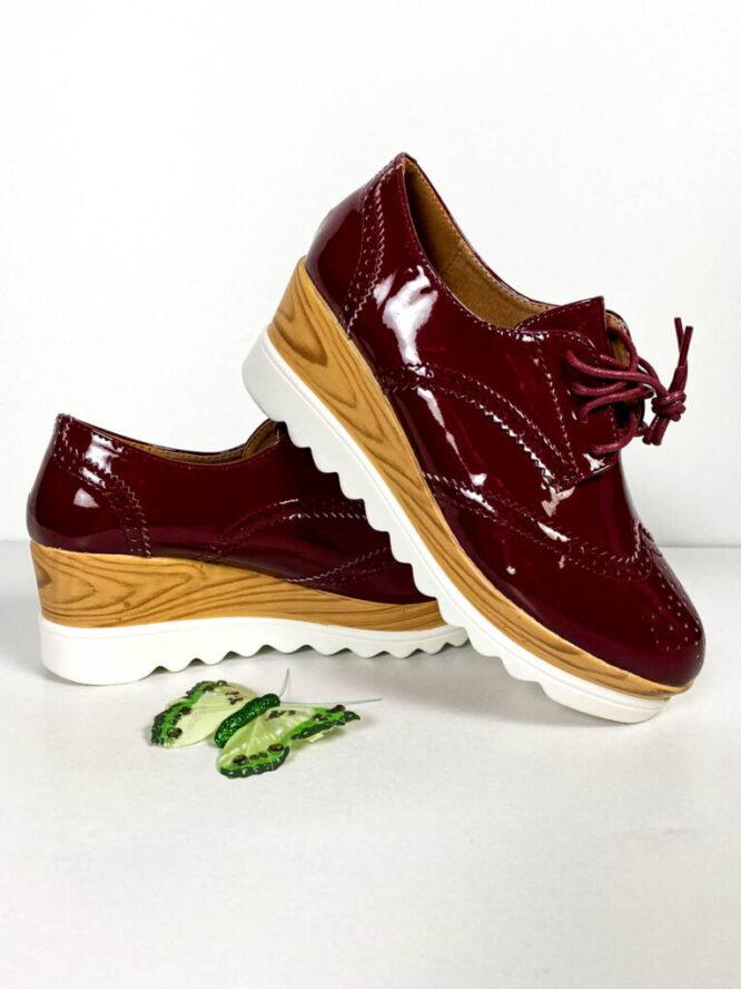 pantof sport bordo lăcuit damă,