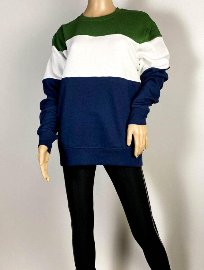 bluză sport verde cu dungi unisex,