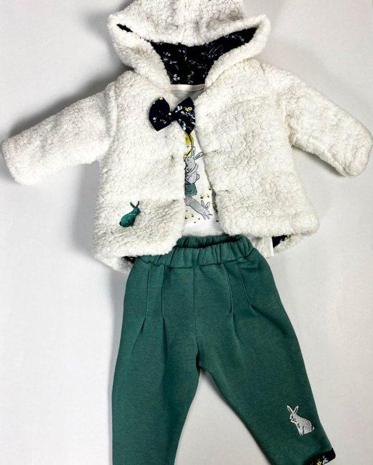 compleu bebe fetiță cu jachetă cocolino albă,
