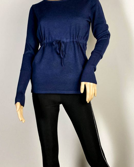 pulover bleumarin damă cu șnur în talie,