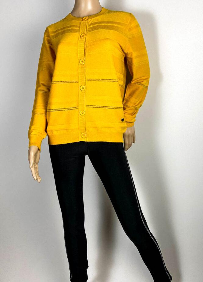 jachetă galben muștar damă din tricot cu sclipici,