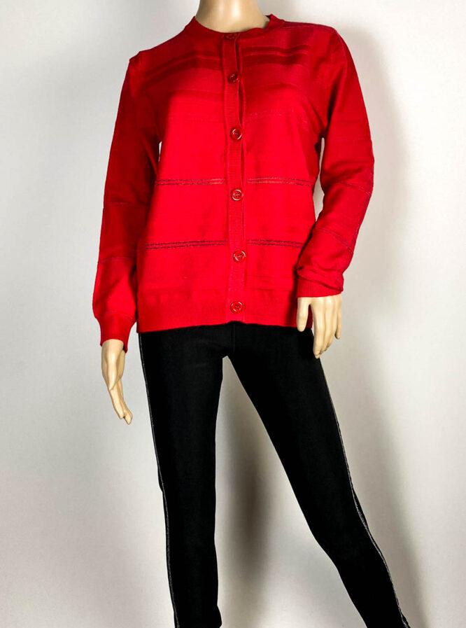 jachetă roșie damă din tricot cu sclipici,