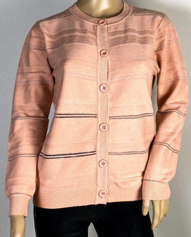 jachetă roz damă din tricot cu sclipici,
