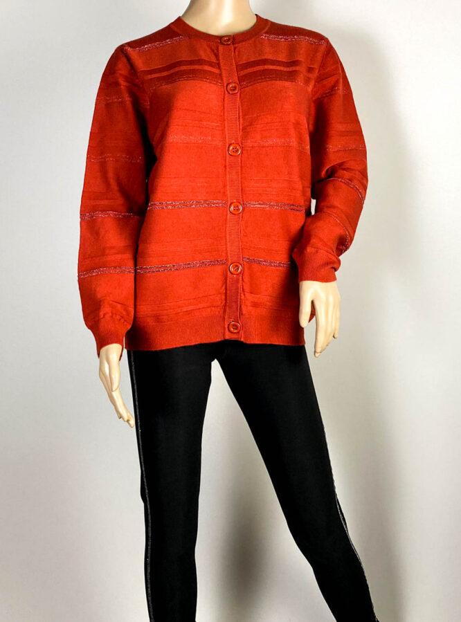jachetă teracot damă din tricot cu sclipici,