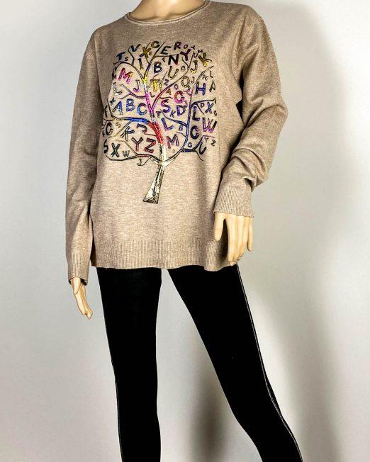 pulover beige damă cu imprimeu,