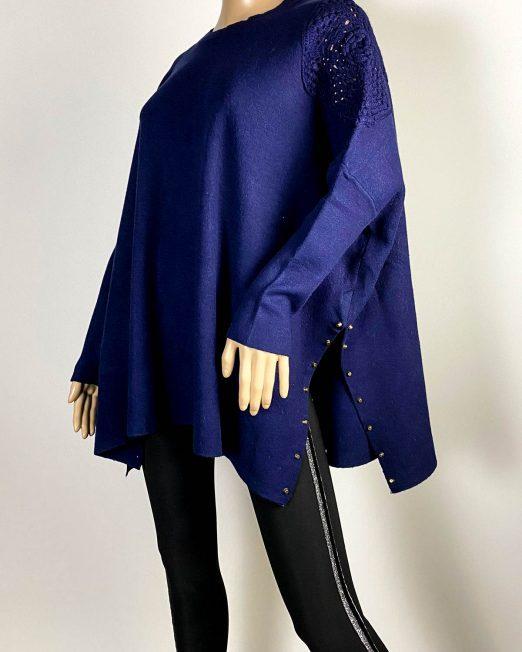 pulover bleumarin damă larg din tricot,