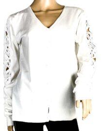 jachetă albă damă tricot cu dantelă,