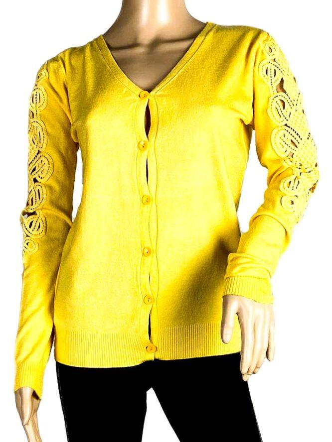 jachetă galbenă damă tricot cu dantelă,