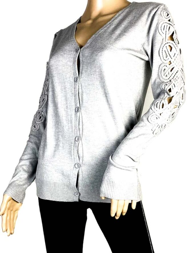 jachetă gri damă tricot cu dantelă,