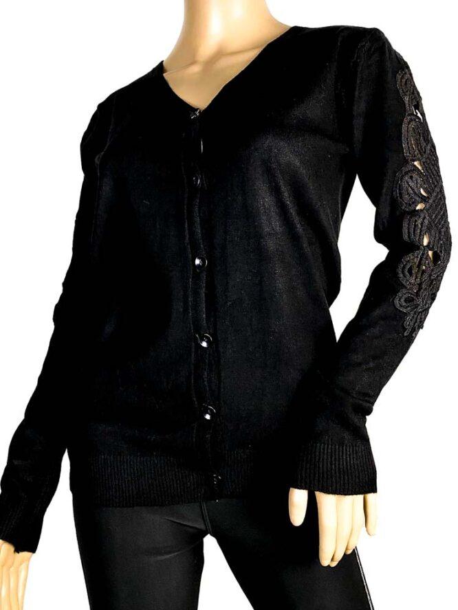 jachetă neagră damă tricot cu dantelă,