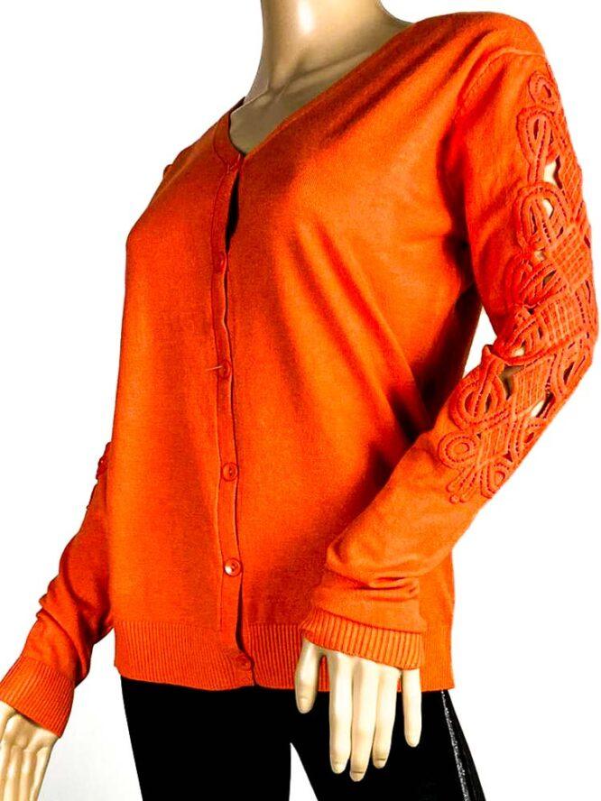 jachetă orange damă tricot cu dantelă,
