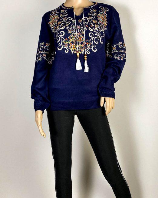 pulover bleumarin damă cu motiv tradițional,