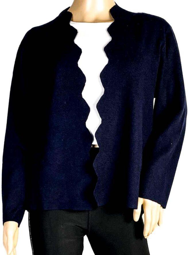 jachetă bleumarin damă cu rever decupat,
