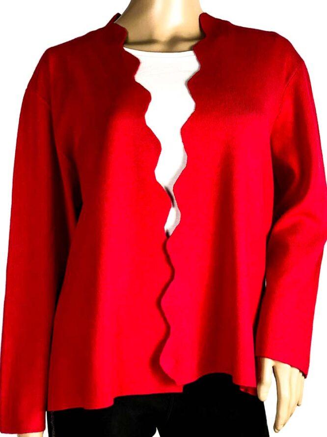 jachetă roșie damă cu rever decupat,