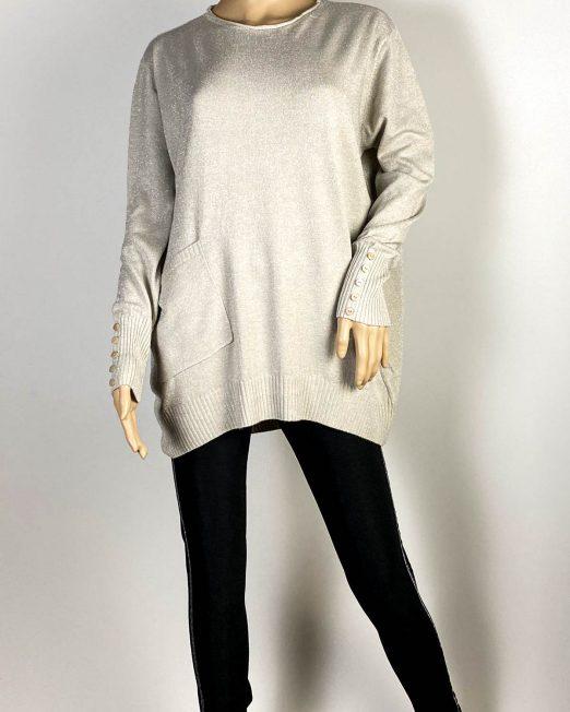 pulover beige damă cu sclipici,