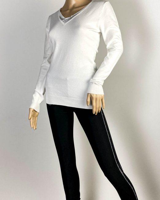 pulover alb damă iarnă cu pietre,