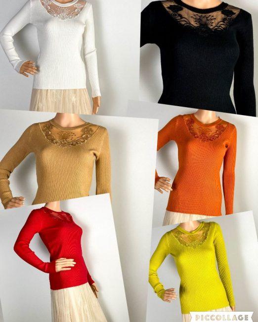 bluză damă iarnă tricot cu dantelă,