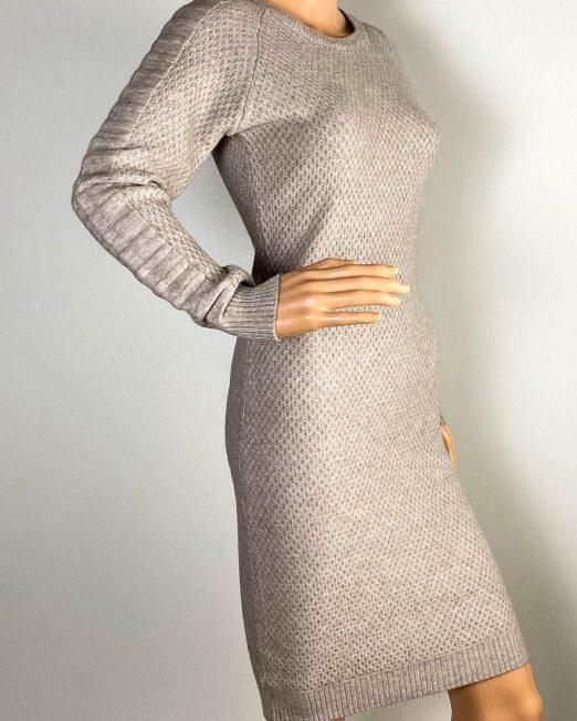 rochie beige damă iarnă din tricot,