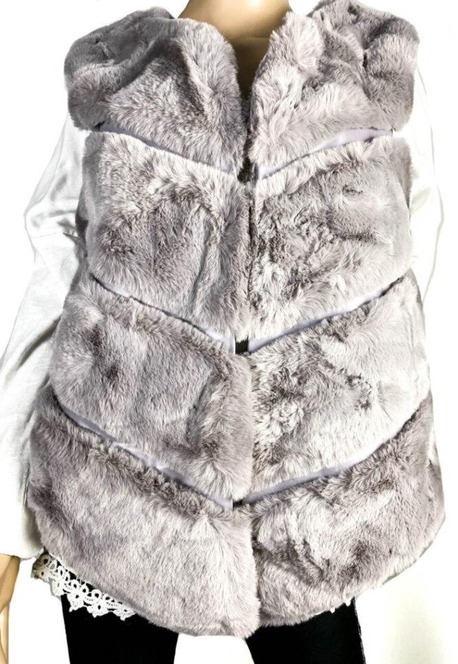 vestă gri blană ecologică damă,