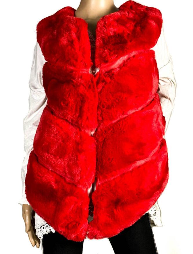 vestă roșie blană ecologică damă,