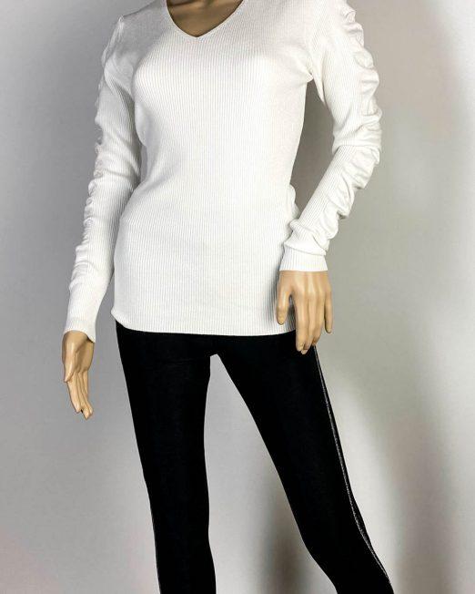 pulover alb damă iarnă tricot mânecă bufantă,