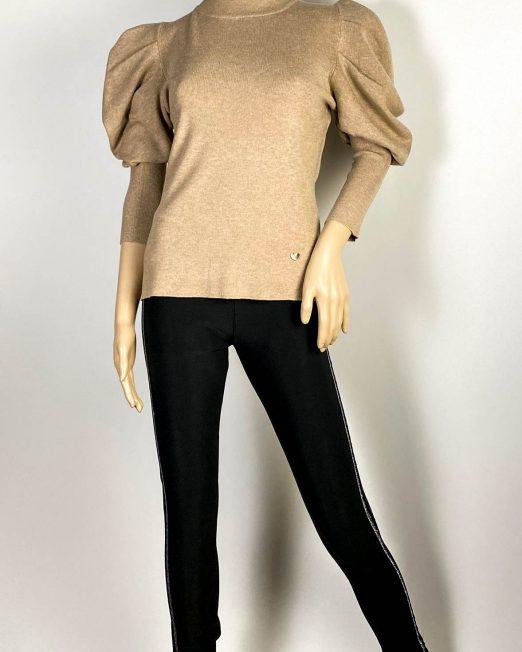 pulover beige damă iarnă tricot mânecă bufantă,