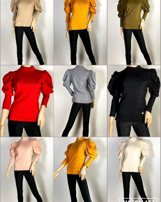 pulover damă iarnă tricot mânecă bufantă,