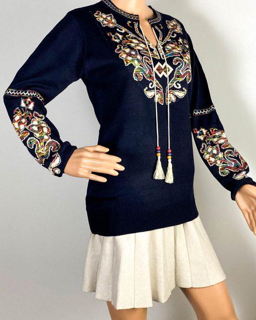 pulover bleumarin motiv tradițional damă tricot,