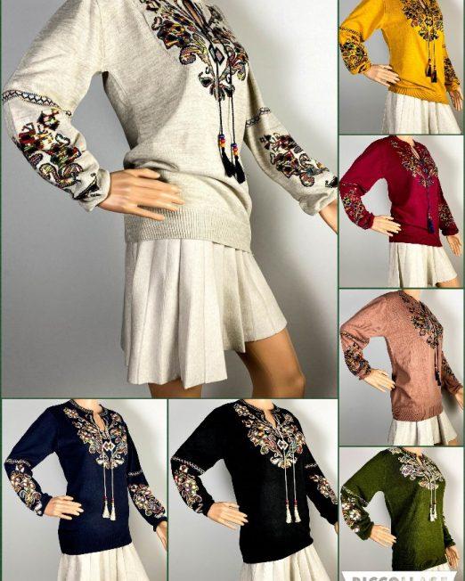 pulover motiv tradițional damă tricot,