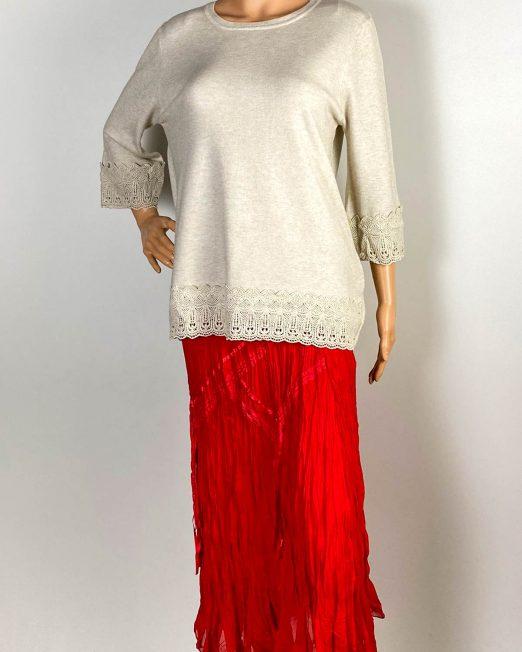pulover beige damă iarnă tricot cu dantelă,