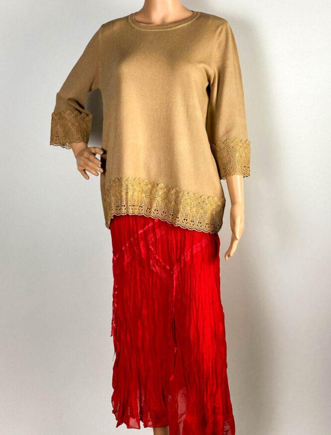 pulover maro damă iarnă tricot cu dantelă,