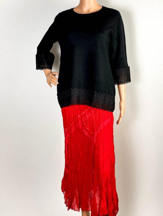 pulover negru damă iarnă tricot cu dantelă,