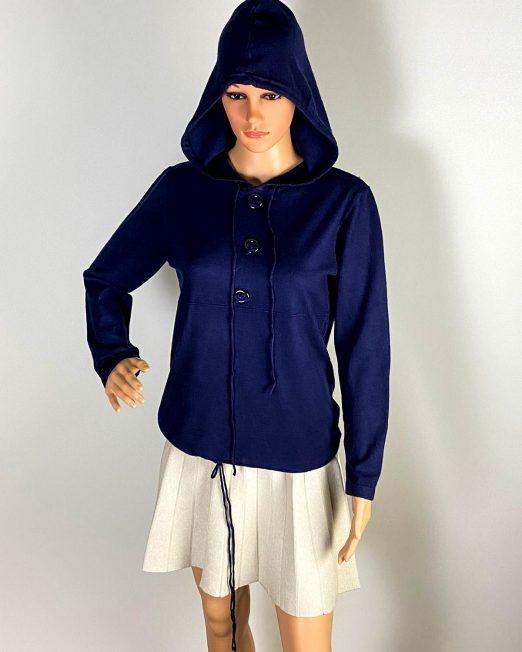 pulover bleumarin glugă damă,