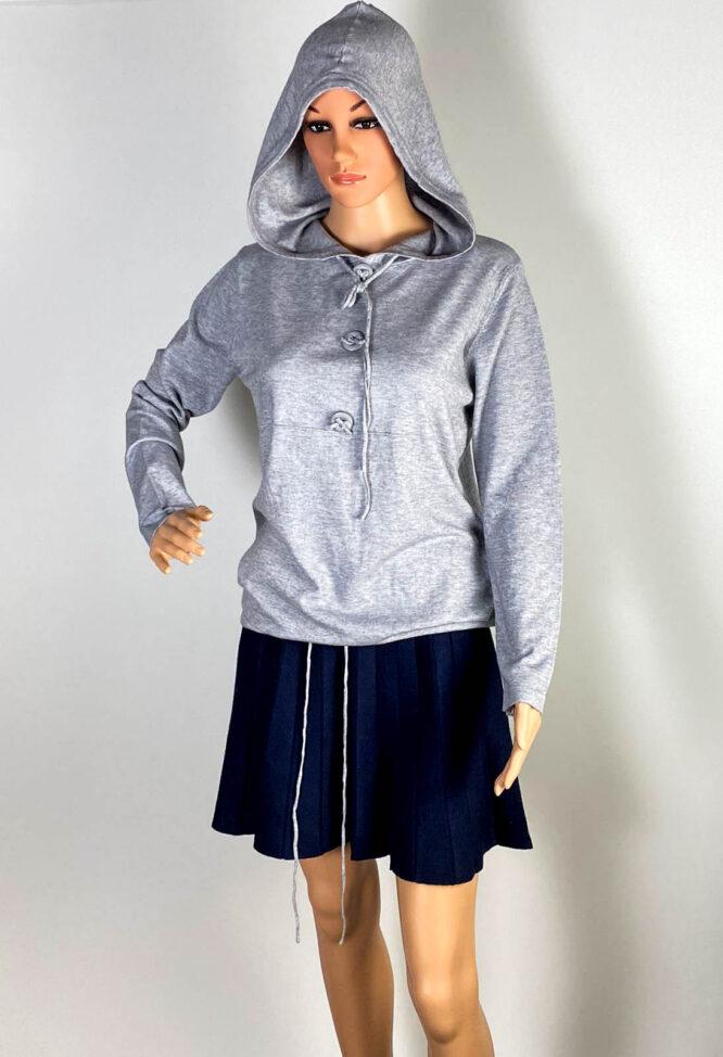 pulover gri glugă damă,