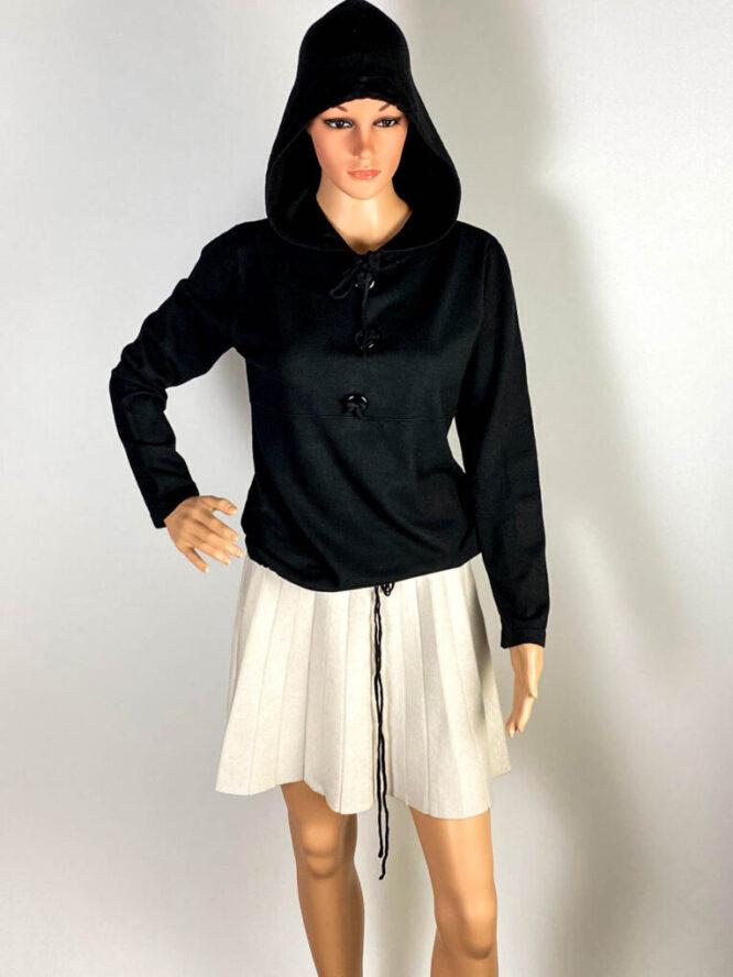 pulover negru glugă damă,