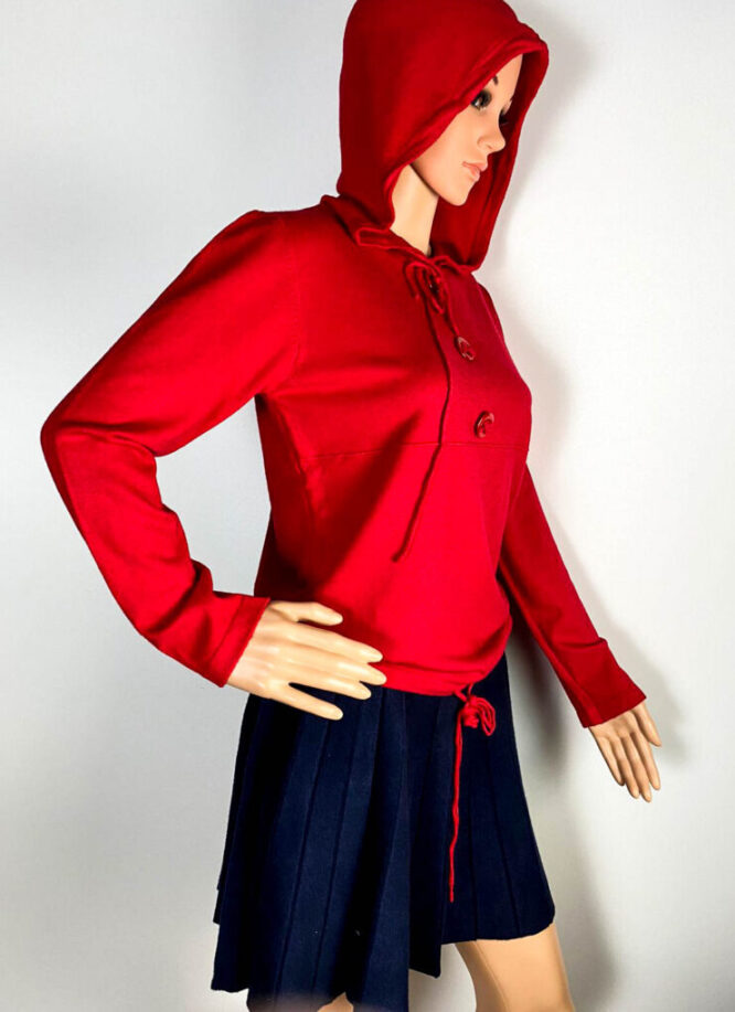 pulover roșu glugă damă,